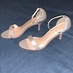 """Brand new 3"""" silver strap heels with ankle strap"""